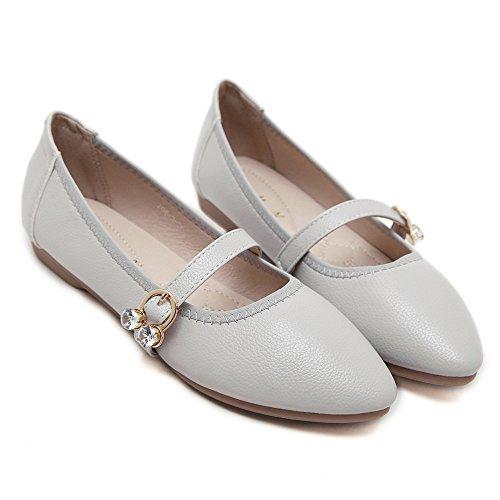 LIVY 2017 nuevos simples de metal puntiaguda pisos hebilla de cierre de los zapatos Plata