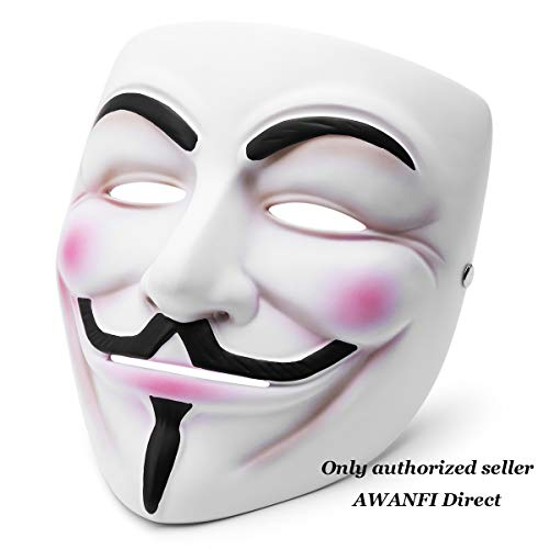 AWANFI Vendetta Mask Anonymous Mask Masquerade Guy Fawkes Mask Ghost Mask Halloween Costume Deluxe Cosplay for Men or Women White