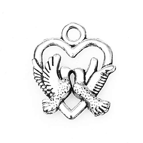 Monrocco 100 Pcs Antique Silver Love Bird Heart Charms Pendant for Bracelets Jewelry Making