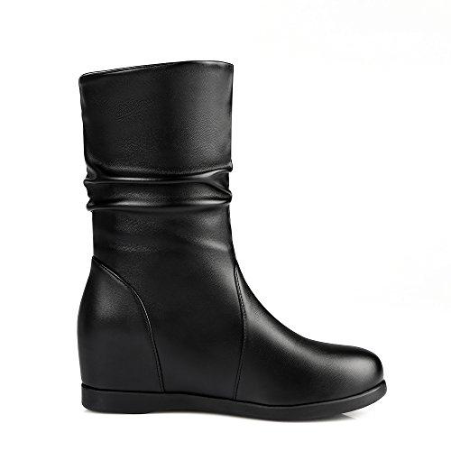 Absatz Damen Boots 5cm Schuhe Bequem Ankle Keilabsatz mit Warm Plateau Schwarz Stiefeletten YE Sn40d6xn