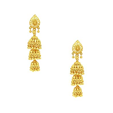 831ba82db Buy Shining Jewel Brass Gold 3 Layered Traditional Designer Jhumki Earrings  for Women Online at Low Prices in India | Amazon Jewellery Store - Amazon.in