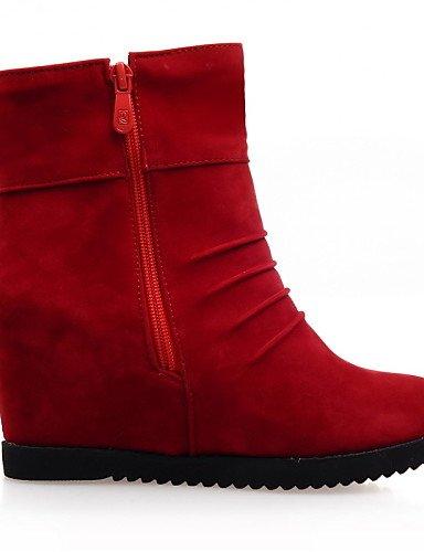 Negro Cuña Uk4 Red Black Botas Redonda De Cuñas Moda Mujer Cn36 La Tacón Eu36 us6 Eu39 Vestido Punta Vellón us8 Xzz Rojo A Cn39 Casual Uk6 Zapatos qw4TIfKxZ