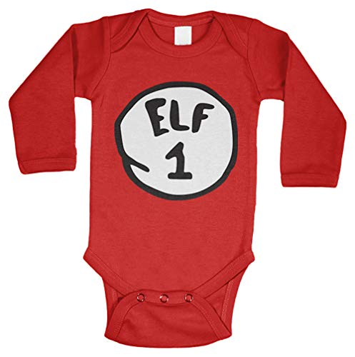 (Elf 1 - Elves North Pole Long Sleeve Bodysuit (Red, Newborn))