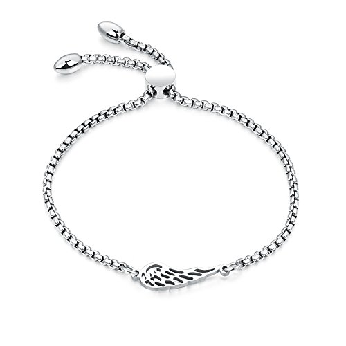 Guardian Angel Wing Bracelet for Women Sideway Charm Bridal Jewelry Adjustable Bolo Drawstring, 9.8