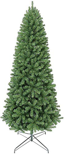 Mosunx 7.5 Ft Artificial Christmas Tree, Xmas Pine Tree, Premium Hinged Fir Pencil Tree with Foldable Metal Legs Perfect for Indoor and Outdoor Holiday Decoration (90x26x26Inch, Green) (Discount Trees Xmas)