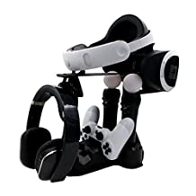 IVSO PS VR Controller Charge Station, Rapid AC PS4 VR Charge Display Stand with Charging Ports +LED indication for PlayStation VR and PS Move Motion Controller - Extra space for VR Headset & Helmet