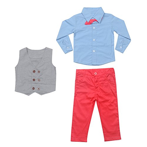 FAVOLOOK Boys Waistcoat, Kids Suits & Gentleman Sets with Vest + Bowknot Shirt + Pants for Daily Wear Special Occasion by FAVOLOOK (Image #2)