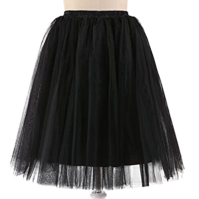 NUOMIQI Women's Tea Length Layered Tulle A-line Party Prom Skirt