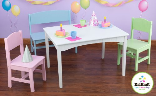 Nantucket Table With Bench & Two Chair Set - Pastel