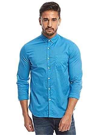 Flying Machine Teal Blue Shirt Neck Shirts For Men