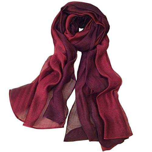 SNUG STAR Cotton Silk Scarf Elegant Soft Wraps Color Shade Scarves for Women (Wine red)