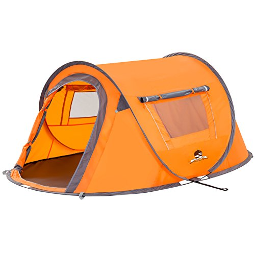 Bravindew Waterproof 2-3 Person Tent Instant Pop Up Tent with Skywindow-Durable Portable Easy Up Shelter with Carrying Bag, Ideal for Family Camping Orange