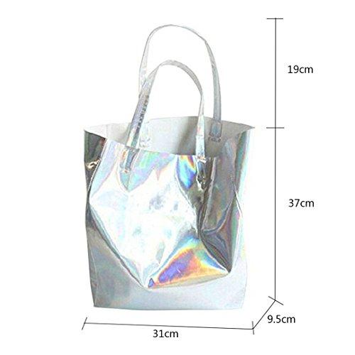 Holographic Laser Tote Silver Bag Shoulder Lightweight Pu Shopper Meliya Womens Leather Handbag 5EwPIqIaW