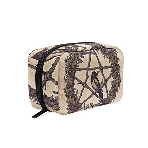 Makeup Pouch Storage Holder Travel Case Cosmetic Makeup Bag (Botanical Pentacle Wreath Witch)
