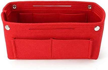 YouNITE アップバッグトイレタリーキットトラベルコスメティックオーガナイザーファッションソリッドカラーの折りたたみ式フェルト挿入メイクアップケース多機能ハンドバッグを作ります (Color : Red, Size : L)