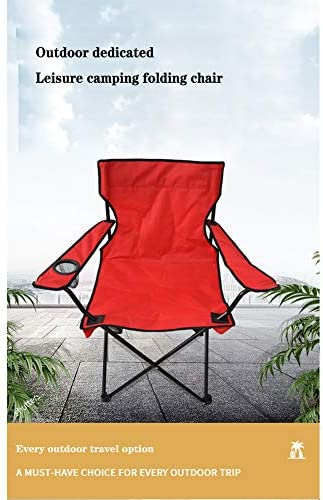 NQO Outdoor folding leisure beach chair, camping backrest armrest folding chair strong and durable, Oxford cloth material, red