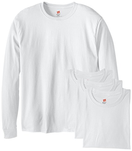 Hanes Men's 4 Pack Long Sleeve Comfortsoft T-Shirt, White, Large