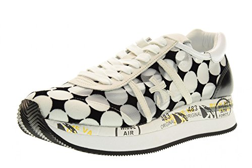 PREMIATA las mujeres bajas zapatillas de deporte CONNY 1925 talla 39 Blanco / negro