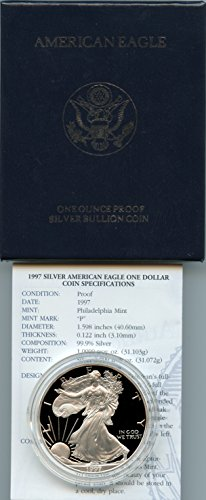1997 Proof American Eagle Silver Dollar with Original Packaging & Certificate of Authenticity. (Dollar Certificate)