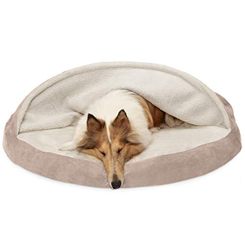 Furhaven Pet Dog Bed | Orthopedic Round Faux Sheepskin Snuggery Burrow Pet Bed for Dogs & Cats, Cream, 44-Inch