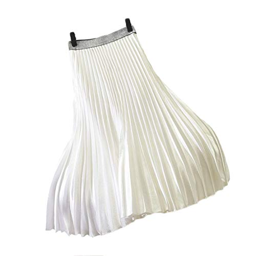 Chartou Womens Elastic-Waist Accordion Pleated Metallic Long Party