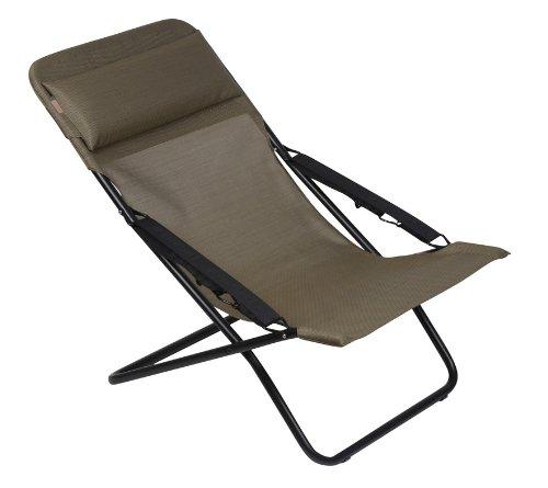 Lafuma LFM2537-6896 Transabed XL Plus Folding Sling Chair - Black (Batyline Natural)