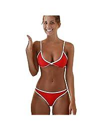 Los Mejores Regalos para Las Mujeres! Hennta Mujeres Sexy Traje de baño de Estilo brasileño Bikini de Playa Conjunto Push-up Sujetador Acolchado Traje de baño Traje de baño (Rojo) Playa