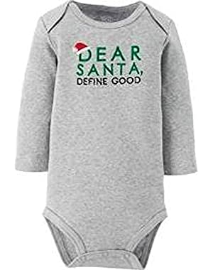 Unisex Christmas Dear Santa Heather Bodysuit