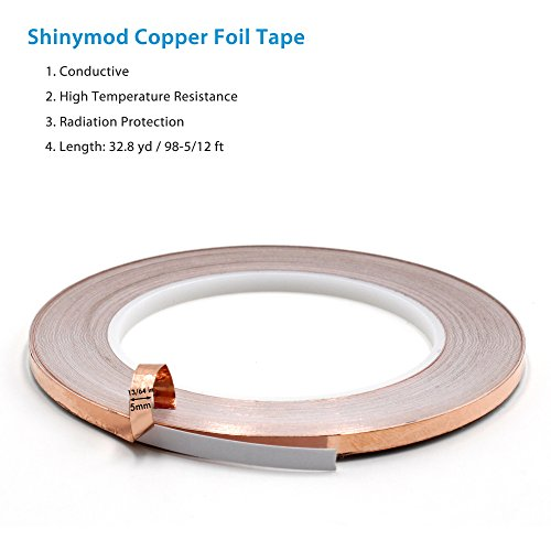 33% Acrylic (Atemto Copper Foil Tape with Conductive Acrylic Adhesive 5mm X 33 Yards- Stained Glass, Soldering, Electrical Repairs, Grounding, EMI Shielding, Making Card, Craft)