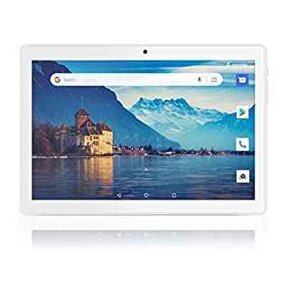 Android Tablet 10 Inch, 3G Phone Tablets with 32GB Storage, Dual SIM Card Slots, Quad-Core Processor, HD Touchscreen, WiFi, Bluetooth, GPS - Silver