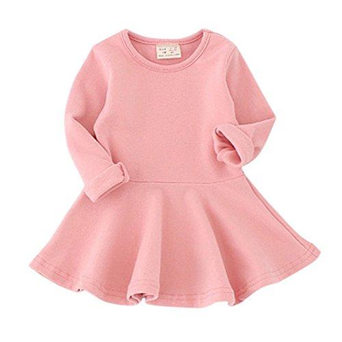 fant Round Neck Ruffle Long Sleeves Skirt,Pink,98 / 24-36 months (Pink Long Sleeve Skirt)