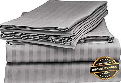 1800 Count 6 Piece Dobby Stripe Bed Sheet Set Ultra Soft US Extra Deep Pocket