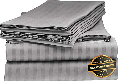 Sandover Bamboo 1800 DEEP Pocket Striped Bed Sheet Sets Hypoallergenic Soft Size King | Style DUV-5301218201
