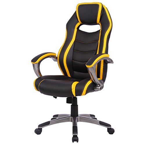 Giantex High Back Racing Chair Home Office Gaming Chair Bucket Seat with Swiveling Casters (Yellow & Black) ()