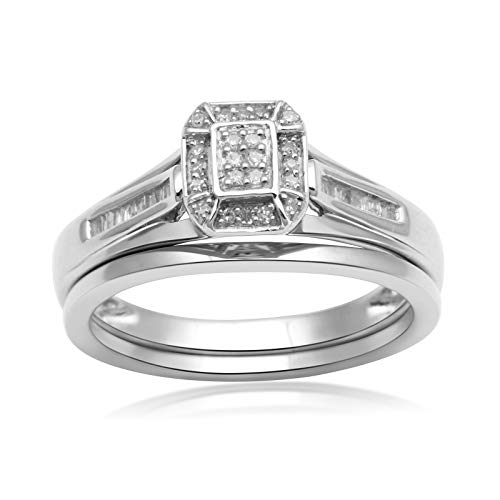(Jewelili Sterling Silver 1/6cttw Baguette and Round Diamond Cluster Bridal Ring, Size 6)