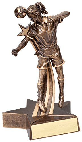 Decade Awards Soccer Gold Star Resin Trophy - Female | Star Futbol Player Award | 6.5 Inch Tall - Free Engraved Plate on Request