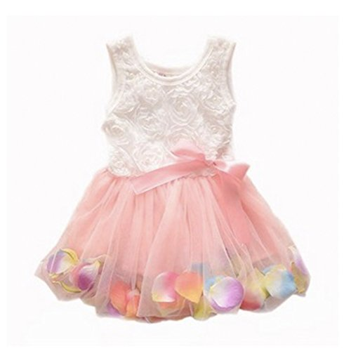 Girl Princess Flower Petal Lace Ruffled Tulle Skirts Dresses Bodysuit Birthday Party 1-2 Years