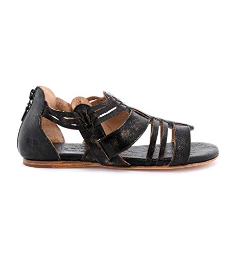 Bed|Stu Women's Cara Leather Sandal (6 M US, Black Hand Wash)