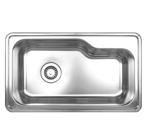 (Whitehaus WHNDB3016-BSS Noah's Collection 33-1/2-Inch Single Bowl Drop-In Sink, Brushed Stainless Steel )