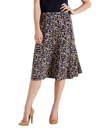 Balsamik - Jupe vase entirement lastique - femme - Taille : 50/52 - Couleur : Imprime bleu