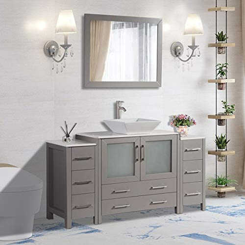 Vanity Art 60 inch Single Sink Small Bathroom Vanity Set 8-Drawers, 1-Shelf - Bathroom Mirrors With Vanities Single Sink And Tops