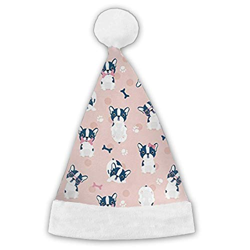 Kux14Bt Pink French Bulldog Funny Party Hats Christmas