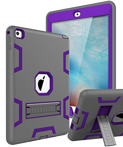TOPSKY iPad Air 2 Case, iPad A1566/A1567 Kids Proof Case, Heavy Duty Shockproof Rugged Armor Defender Kickstand Protective Cover Case for iPad Air 2 Grey Purple