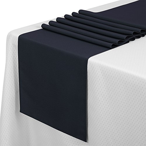 "VEEYOO 10 Pieces 14x108"" 100% Polyester Table Runner for Indoor or Outdoor Use Machine Washable, Midnight Navy"