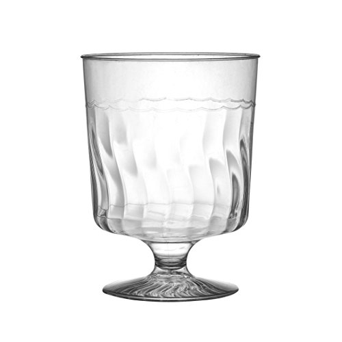 Footed Cut Glass - Perfect Stix Wine Glass 8-20ct Plastic Wine Glasses, Assembly Heavyweight, 1 Piece, 8 oz. (Pack of 20)