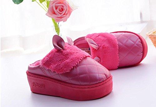 DANDANJIE Zapatos Invierno Zapatillas Mujer Zapatos Zapatillas Impermeable de Antideslizantes caseros Suela Mujer Lindo Gruesa Rojo algodón otoño Caliente qxfrxOCw