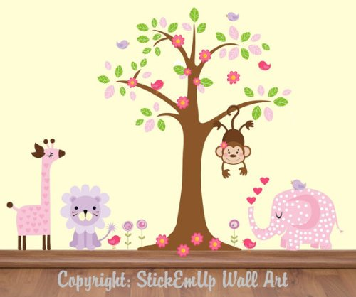 Pink Animal Baby Decals | Girls Room Wall Prints | Jungle and Safari Themed | Tall Giraffe | Purple Animal Colors | Pastel Tints | Large Tree Sticker | Repositionable | Amazon Animals