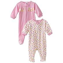 Gerber Baby Girls 2 Pack Zip Front Sleep n Play, Birdie, -3 Months (3-6 Months, Pastel Elephants)