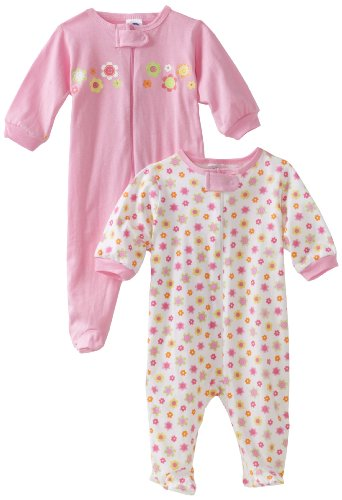 Gerber Baby-Girls Newborn 2 Pack Zip Front Flowers Sleep and Play