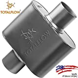 "TOTALFLOW Black 3"" Center In/3"" Center Out 443015 409 Stainless Steel Single Chamber Universal Muffler 3"" Center Out"